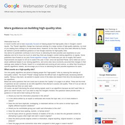 More guidance on building high-quality sites