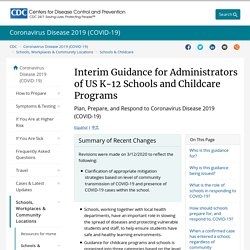 Interim Guidance for Childcare Programs and K-12 Schools