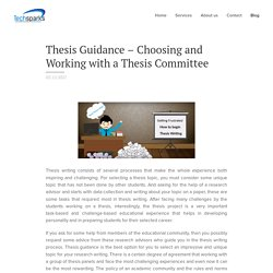 Thesis Guidance – Choosing and Working with a Thesis Committee