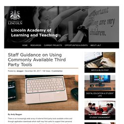 Staff Guidance on Using Commonly Available Third Party Tools