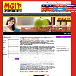 Haryana B.Ed Guidance & Counseling for 2014 Admission