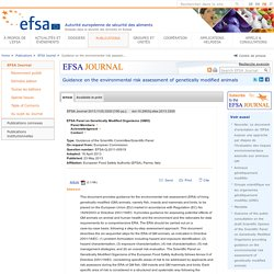 EFSA 23/05/13 Guidance Document on the ERA of GM animals.