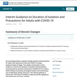 CDC 13.02.21 Interim Guidance on Duration of Isolation and Precautions for Adults with COVID-19