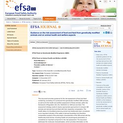 EFSA JOURNAL 13/01/12 Guidance on the risk assessment of food and feed from genetically modified animals and on animal health an