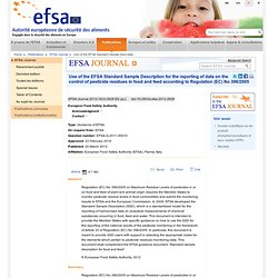 EFSA 20/03/12 Use of the EFSA Standard Sample Description for the reporting of data on the control of pesticide residues in food