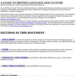 A GUIDE TO BRITISH LANGUAGE AND CULTURE