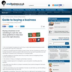 Guide to buying a business