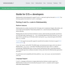 Guide for C/C++ developers - WebAssembly