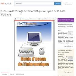 1/25. Guide d'usage de l'informatique au Lycée de la Côte d'albâtre - PDF