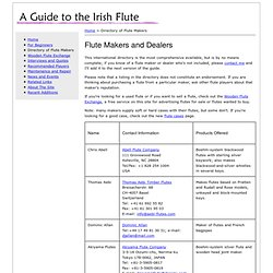 A Guide to the Irish Flute : Directory of Flute Makers
