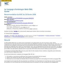 Le guide du langage d'ontologie Web OWL