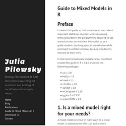Guide to Mixed Models in R