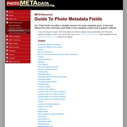 Guide to Photo Metadata Fields