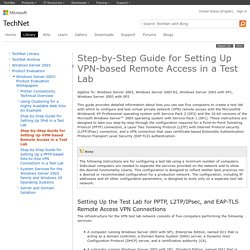 Step-by-Step Guide for Setting Up VPN-based Remote Access in a Test Lab