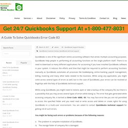 Guide To Solve Quickbooks Error Code 83