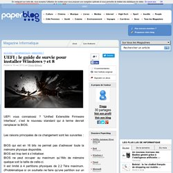 UEFI : le guide de survie pour installer Windows 7 et 8