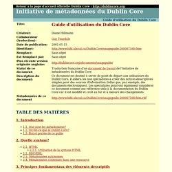 Guide d'utilisation du Dublin Core