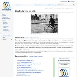 Guide du vélo en ville