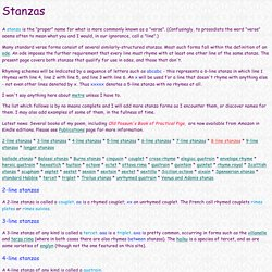 Guide to Verse Forms - stanzas
