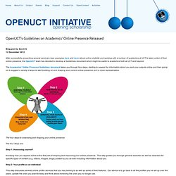 OpenUCT's Guidelines on Academics' Online Presence Released