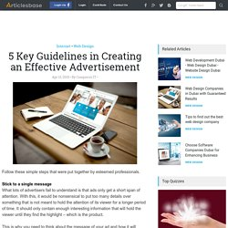 5 Key Guidelines in Creating an Effective Advertisement