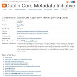 Guidelines for Dublin Core Application Profiles