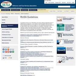 RUSA Guidelines, Standards, and Definitions