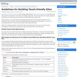 Guidelines for Building Touch-friendly Sites - IEBlog