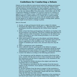 Guidelines for Conducting a Debate