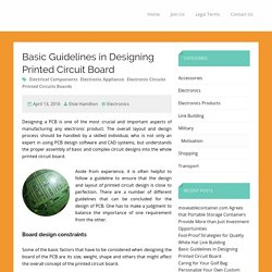 Basic Guidelines in Designing Printed Circuit Board