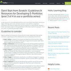 Don't Start from Scratch: Guidelines & Resources for Developing E-Portfolios (post 3 of 4 in our e-portfolio series)