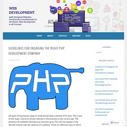 Guidelines For Engaging The Right PHP Development Company – AIS Technolabs