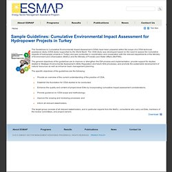 Sample Guidelines: Cumulative Environmental Impact Assessment for Hydropower Projects in Turkey