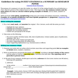 Guidelines for writing a SUMMARY