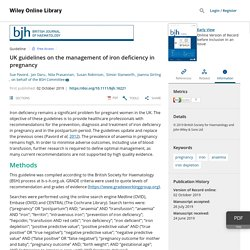 UK guidelines on the management of iron deficiency in pregnancy - Pavord - - British Journal of Haematology