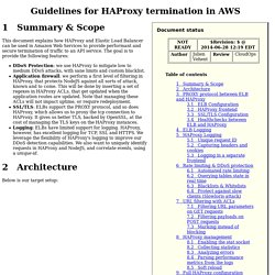 Guidelines for HAProxy termination in AWS