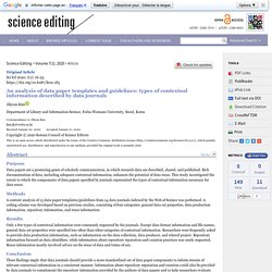 An analysis of data paper templates and guidelines: types of contextual information described by data journals
