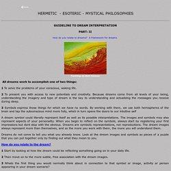 Guidelines to Dream Interpretation