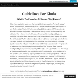 Guidelines For Khula – Hamza and Hamza Law Associates