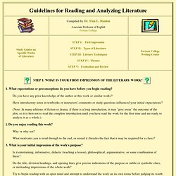 Guidelines for Reading and Analyzing Literature