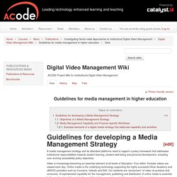 Guidelines for media management in higher education