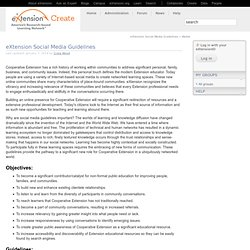 Social Media Guidelines | eXtension Content Management System