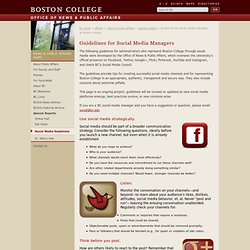 Guidelines for Social Media Managers at Boston College