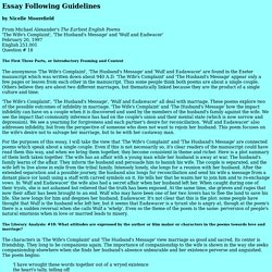 Model Essay with Guidelines for English 203: Western Literary Masterworks