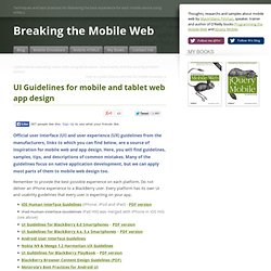 UI Guidelines for mobile and tablet web app design
