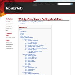 WebAppSec/Secure Coding Guidelines