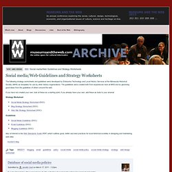 Social media/Web Guidelines and Strategy Worksheets | conference.archimuse.com