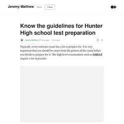 Know the guidelines for Hunter High school test preparation
