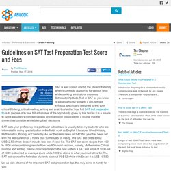 Guidelines on SAT Test Preparation-Test Score and Fees