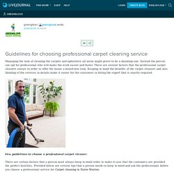 Guidelines for choosing professional carpet cleaning service: greenglove
